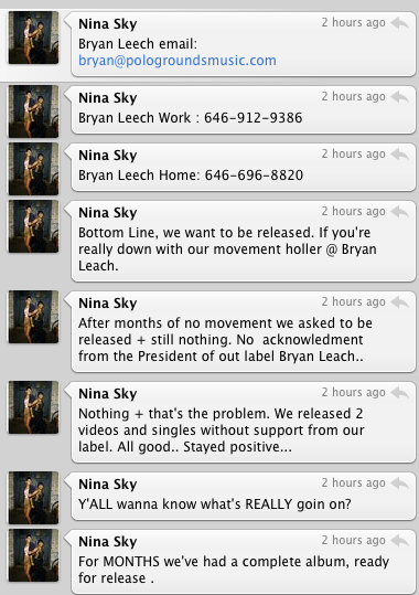 Nina Sky Tweets Label Head's Phone Number.