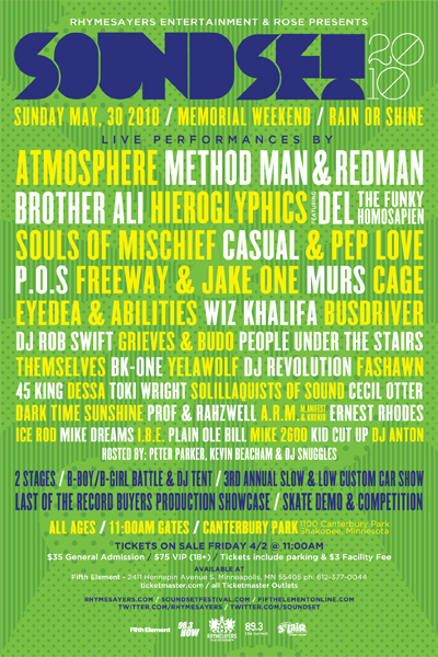 Atmosphere, Red & Meth Headlining Soundset Festival