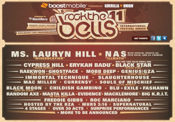 Lauryn Hill, Nas, Cypress Hill, Black Star, Rae, Ghost, Mob Deep, GZA, Souls of Mischief To Peform Classic LP's At Rock The Bells