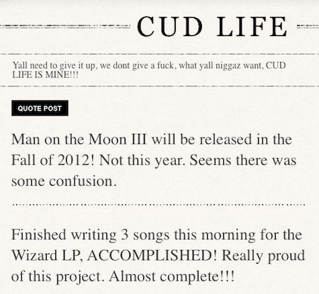 "Kid Cudi Says ""MOTM3"" Due Fall 2012"