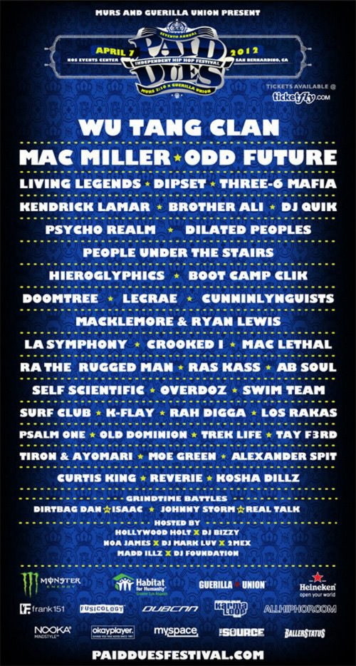 Wu-Tang Clan, Odd Future, Mac Miller Headlining Paid Dues 2012
