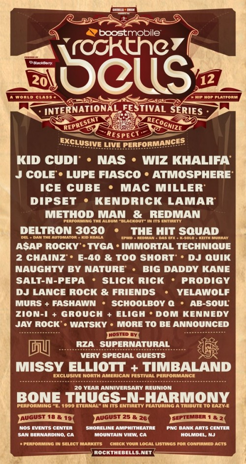 Rock The Bells 2012 Lineup Announced